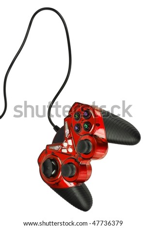 Video game controller with cord, isolated on white background - stock photo
