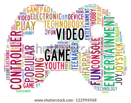 video game info-text graphics and arrangement concept (word cloud) in white background - stock photo