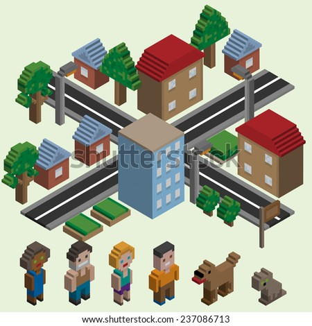 Video game isometric city with cartoon pixel characters icons set isolated  illustration