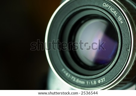 video lens (special photo f/x ,focus point the nearest part of the lens  and space for your text)