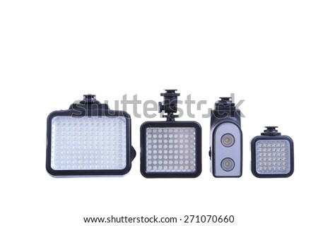 Video lighting isolated on white - stock photo