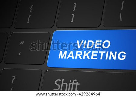 Video marketing button on keyboard, 3d render
