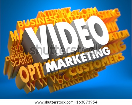 Video Marketing on White Color on Cloud of Yellow Words on Blue Background. Business Concept. - stock photo