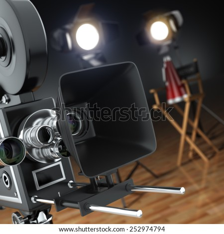 Video, movie, cinema concept. Retro camera, flash and director's chair in dark studio with dof effect. 3d - stock photo