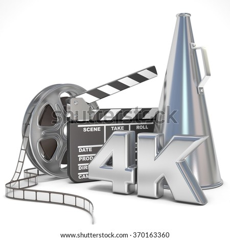 Video, movie, cinema production concept. Reels, clapperboard, megaphone and 4K. 3D render illustration isolated on white background