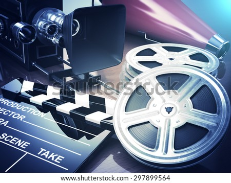 Video, movie, cinema vintage concept. Retro camera, reels and clapperboard. 3d - stock photo