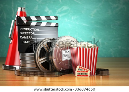 Video, movie, cinema vintage production concept. Film reels, clapperboard, tickets, popcorn and megaphone. 3d - stock photo