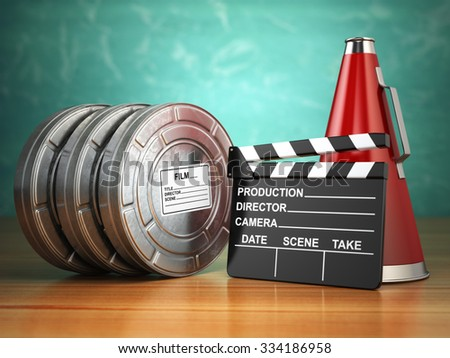 Video, movie, cinema vintage production concept. Reels, clapperboard and megaphone. 3d - stock photo