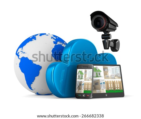 Video observation system. Isolated 3D image - stock photo