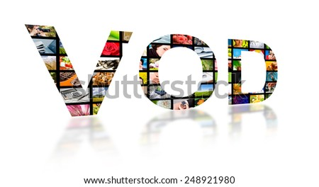 Video on demand abstract text ob white background. Tv concept. - stock photo