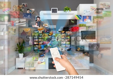 Video on demand VOD service on TV, television concept. - stock photo