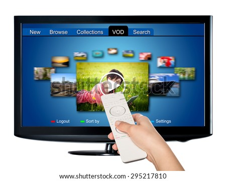 Video on demand VOD service on TV, television concept.  All Texts, Icons, TV Interfaces where created from scratch by myself. - stock photo