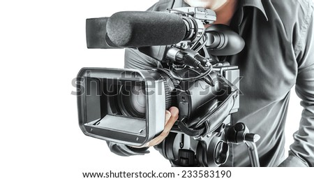 Video operator isolated on a white background - stock photo