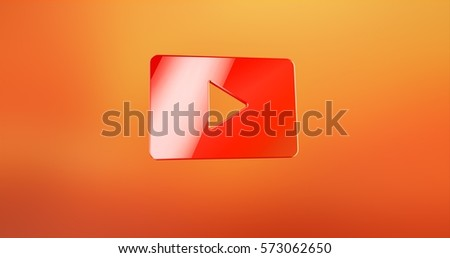 Video Play Red 3d Icon