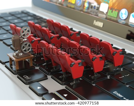 Video player application  or home cinema concept. Laptop and rows of cinema seats, 3d illustration - stock photo