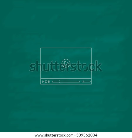Video player for web. Outline icon. Imitation draw with white chalk on green chalkboard. Flat Pictogram and School board background. Illustration symbol - stock photo