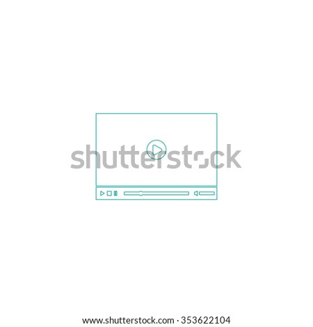 Video player for web. Outline symbol on white background. Simple line icon - stock photo