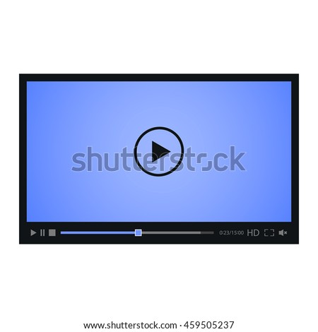 Video player for web with blue screen. Isolated on white background.
