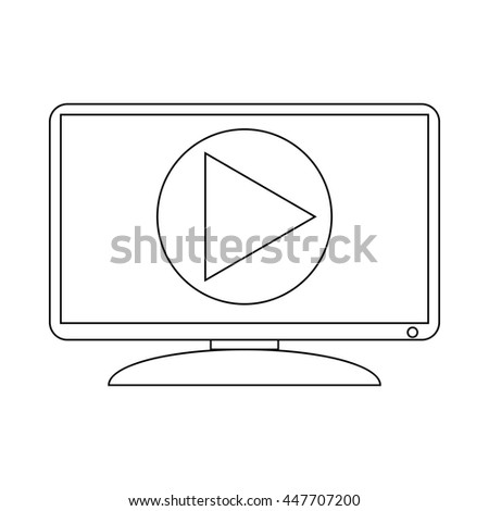 Video player on the computer monitir icon in outline style on a white background