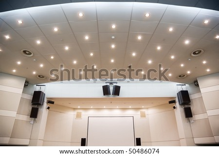 Video screen and an audio system for viewing of presentations - stock photo