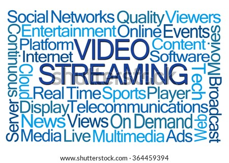 Video Streaming Word Cloud on White Background - stock photo