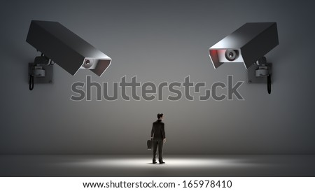Video surveillance and privacy issues concept illustration.  - stock photo