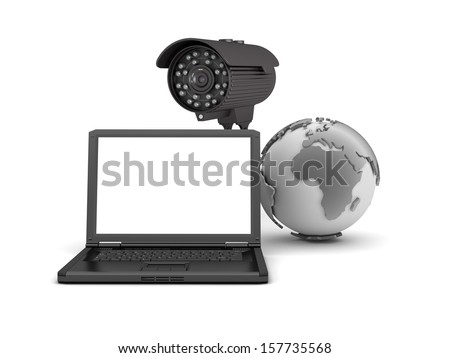 Video surveillance camera and laptop  - stock photo
