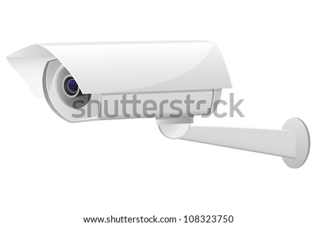 video surveillance camera illustration isolated on white background