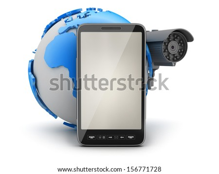 Video surveillance camera, mobile phone and earth globe - stock photo