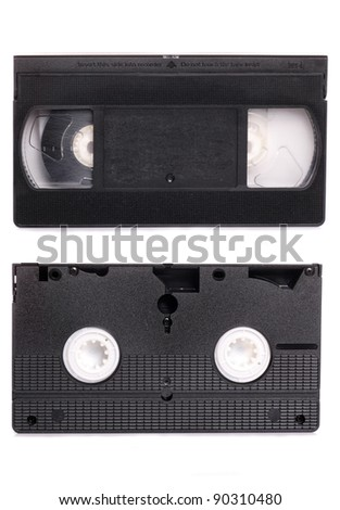 video tape on white background