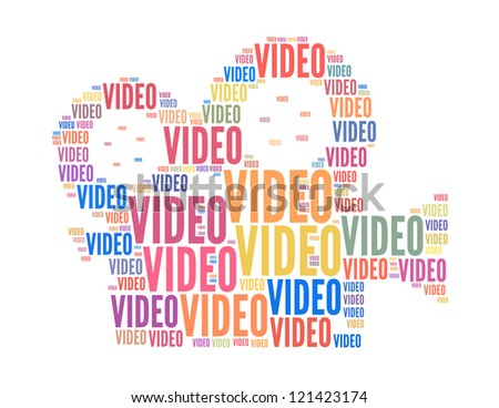 video text collage Composed in the shape of film camera an isolated on white - stock photo