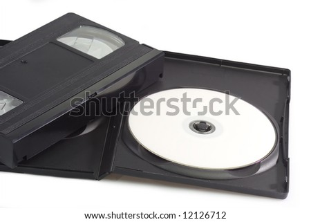Videocassette and digital versatile disc isolated on white background