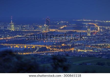 Vienna, aerial view at night - stock photo