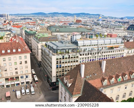 VIENNA - AUGUST 19,2013: City view from the tower of St. Stephen's Cathedral  on August 19, 2013 in Vienna, Austria. Built in 1160, the cathedral is now one of the city's most recognizable symbols.