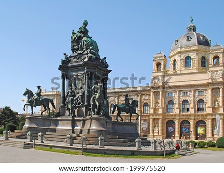VIENNA � AUGUST 8: Maria-Theresien-Den kmal - Maria Theresia monument in front of the Kunsthistorisches museum in Vienna, Austria in Vienna, Austria on August 8, 2011. The monument was built in 1888.  - stock photo