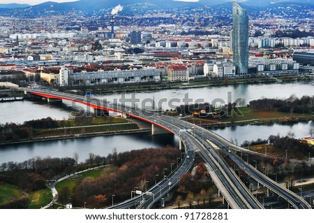 Vienna, Austria - Aerial view of the city - stock photo