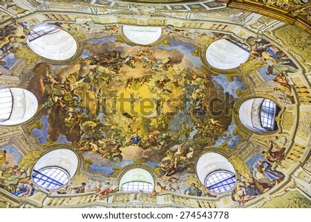 VIENNA, AUSTRIA - APR 24, 2015:  ceiling of beautiful Austrian National Library in Vienna, Austria. Est in 18th century, the largest library in Austria with 7.4 mill items. - stock photo