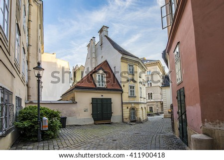 VIENNA, AUSTRIA - APR 26, 2015: typical old houses in Vienna first district in the famous area Moelker Steig. It belongs to the first district of Vienna.