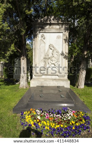 VIENNA, AUSTRIA - APR 26, 2015: view to  Vienna Central Cemetery, the place where famous austrian people are burried like Carlotta Wolter. - stock photo