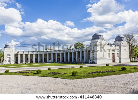 VIENNA, AUSTRIA - APR 26, 2015: view to  Vienna Central Cemetery, the place where famous austrian people are burried like Strauss, Beethoven and Mozart.