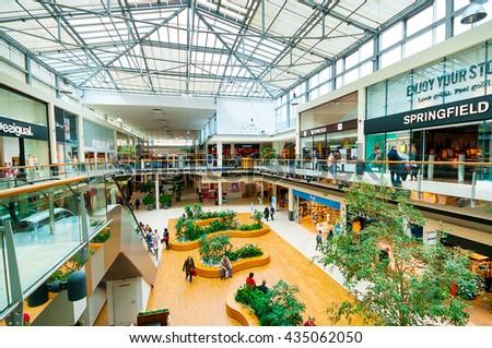 VIENNA, AUSTRIA - APRIL 21, 2016: Danube Center shopping mall (Donau Zentrum)  - stock photo