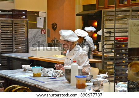 VIENNA, AUSTRIA - APRIL 8, 2015: Demel is a famous pastry shop and chocolaterie established in 1786 in Vienna, Austria. The company bears the title of a Purveyor to the Imperial and Royal Court