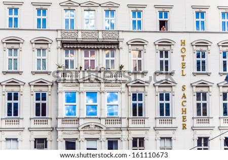 VIENNA, AUSTRIA - APRIL 25: facade of hotel Sacher on April 25, 2009 in Vienna, Austria.The Hotel Sacher  was established in 1876 by Eduard Sacher, son of the creator of the famous  Sacher-Torte.