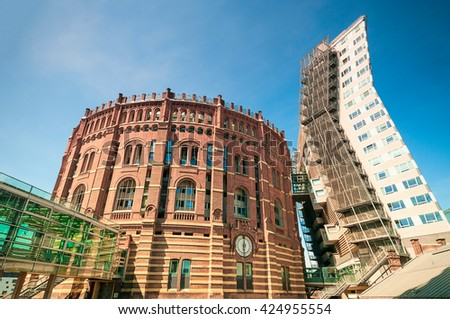 VIENNA, AUSTRIA - APRIL 23, 2016: Gasholders (Gasometers) located in Simmering district - stock photo