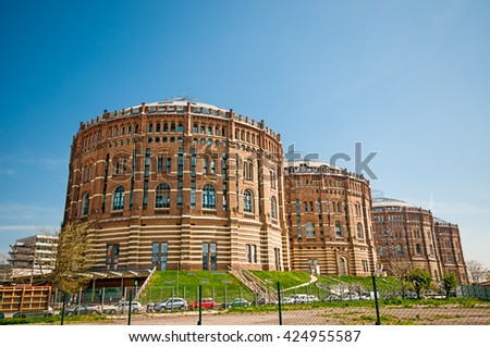 VIENNA, AUSTRIA - APRIL 23, 2016: Gasholders (Gasometers) located in Simmering district