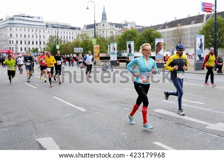 VIENNA, AUSTRIA - APRIL 10, 2016: Group of runners runs the Vienna City Marathon , April 10, 2016 in Vienna, Austria. - stock photo