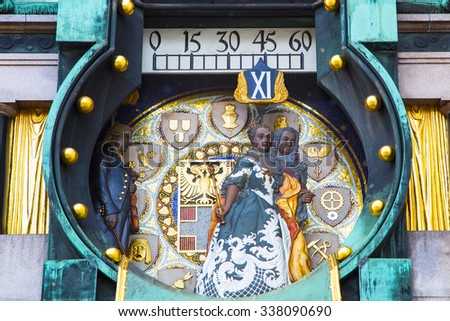 Vienna, Austria - April 5, 2015: Jugendstil Ankeruhr Vienna Clock at Hoher Markt. At 12 o'clock noon the parade of the figures with musical accompaniment takes place