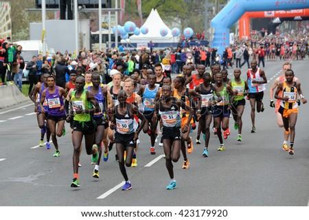 VIENNA, AUSTRIA - APRIL 10, 2016: Leading group of runners starts the Vienna City Marathon , April 10, 2016 in Vienna, Austria. - stock photo