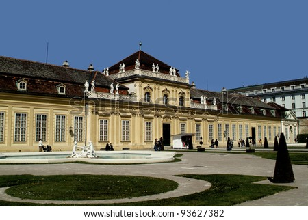 VIENNA, AUSTRIA - APRIL 21: Lower Belvedere in Vienna built from baroque architect Lucas von Hildebrandt as a residential palace, now museum and exhibition center on April 21, 2007 in Vienna, Austria