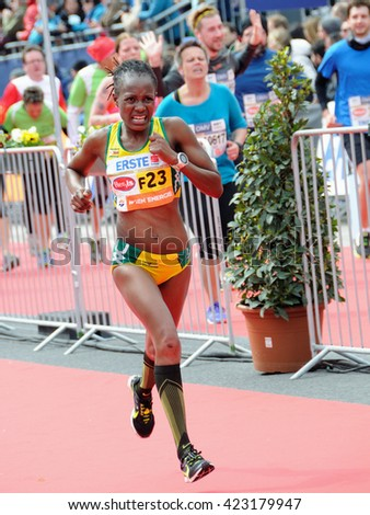 VIENNA, AUSTRIA - APRIL 10, 2016: Nyahora Rutendo finishes  the Vienna City Marathon , April 10, 2016 in Vienna, Austria.
